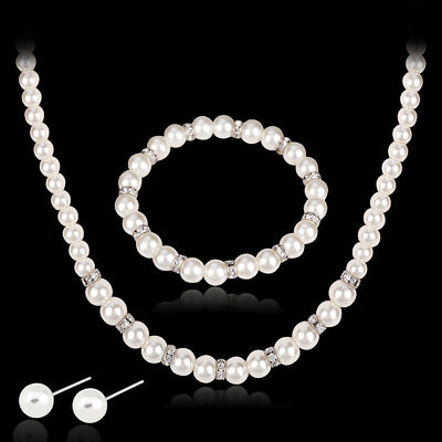 Elegant Lady Wedding Bridal Faux Pearl Bracelet+Necklace+Earrings Jewelry Set Wo