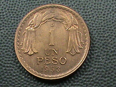 CHILE   1 Peso   1953   UNCIRCULATED  ,   $ 2.99  maximum  shipping  in  USA