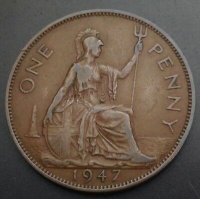 Great Britain, UK One Penny 1947. KM#845. Large 1 Cent Coin. George VI. Bronze.