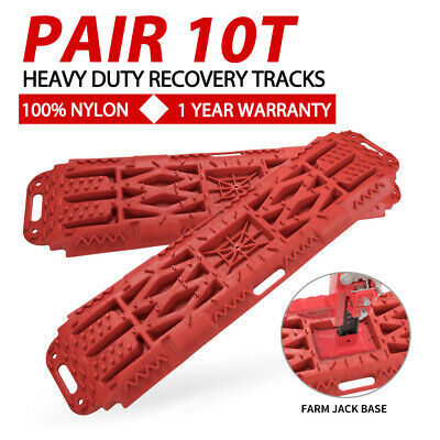 Pair RED Off Road Recovery Tracks 10T 4x4 4WD Sand Track Farm Jack Base Design