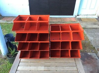 Lot Of 7 Stackable Industrial Metal Drawers; Parts Drawers; Rustic; Parts Trays