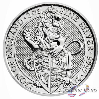 2016 Queen Beasts The Lion .9999 2 Oz. Silver Coin - Direct Fit Capsule