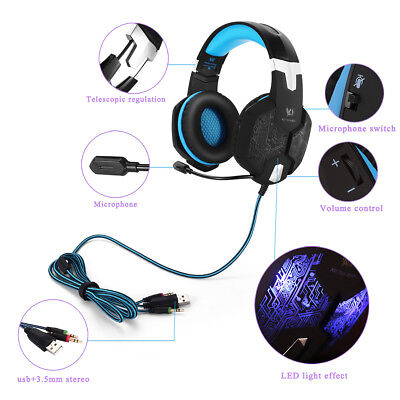 KOTION EACH G1000 3.5mm Gaming Bass Stereo Headphones Headband with Mic for PC