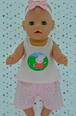 """Play n Wear Doll Clothes To Fit 17"""" Baby Born BUTTERFLY PANTS~TOP~HEADBAND"""