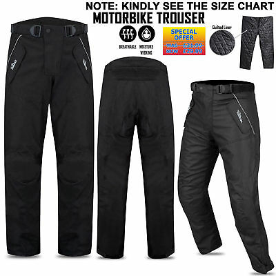 Motorbike Cordura Waterproof Textile Motorcycle Trouser Pants Armours Black 299