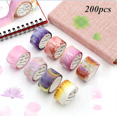 200PCS Decorative Scrapbook Sticker Washi Tape Flower Petals Tape Sticky Paper
