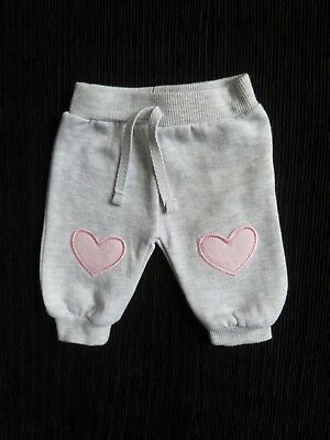 Baby clothes GIRL premature/tiny<7.5lbs/3.4kg grey, soft pink heart trousers