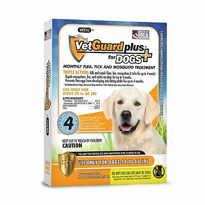 VetGuard Plus Flea & Tick Treatment for Large Dogs, 34-66 lbs, 4 Month Supply