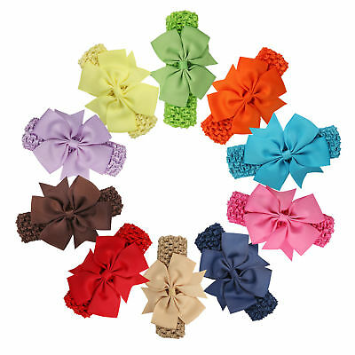 8pcs Baby Girls Kids Hairband Bow Elastic Band Headband Flower Hair Accessories