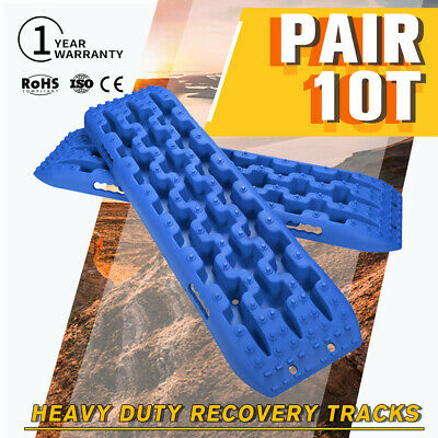 4x4 Recovery Tracks 10T Off Road 4WD Sand Track Snow Mud Tyre Ladder Pair Blue