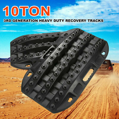 Pair 4WD Recovery Tracks Off Road 4x4 Sand Snow Mud Tyre Ladder 10 Ton Black