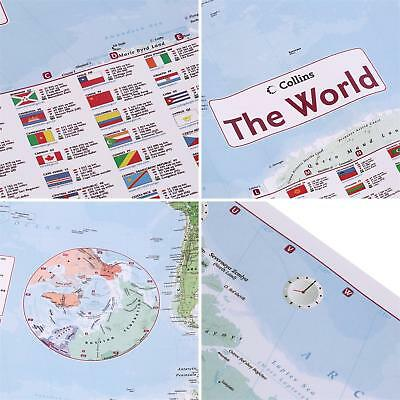 98x68cm English Large Map of the World With Country Flags Office Wall Poster Wo