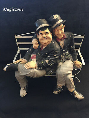 Laurel and Hardy Sitting On Bench, Paint Job!