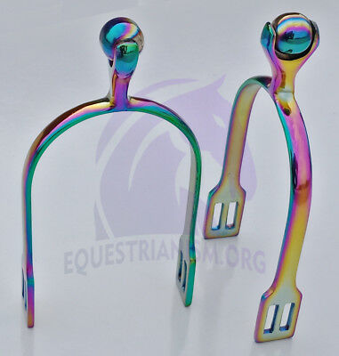 Rainbow Ladies Spurs Solid Roller Ball, Horse Riding Spurs, FREE P&P