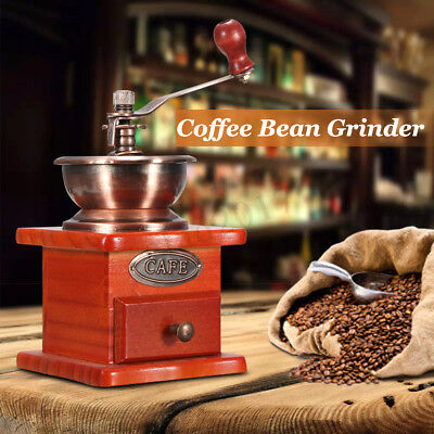 Vintage Manual Bean Spice Nut Coffee Grinder Portable Hand Crank Coffee Mill Kit