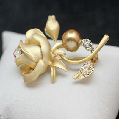 GOLD ROSE LAPEL Pin ~ Flower Brooch Suit Pin ~ Unisex for