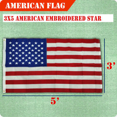 3'x5' FT USA US U.S American Flag Sewn Stripes Embroidered Stars Brass Grommets