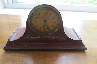 Old small  LUX Clock Mfg Co clock, shelf, golden face, cast iron, timepiece