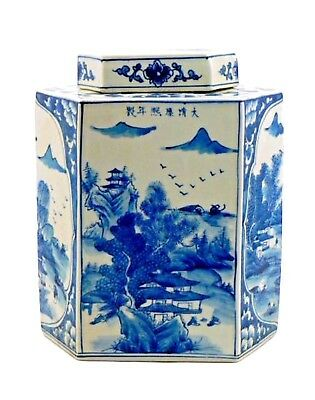 Beautiful Large Chinoiserie Chinese Blue & White Hexagonal Ceramic Canister 32cm