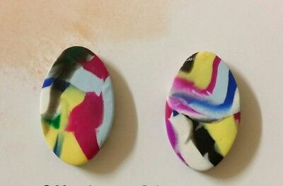 Multi coloured polymer clay stud earrings