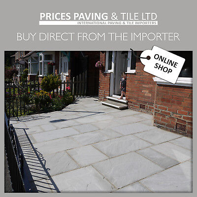 Indian Sandstone GERY Paving Patio Slabs 18m2 PACKS Kandla Grey Flags Pavers