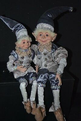 2x Elf Dolls Blue & Silver
