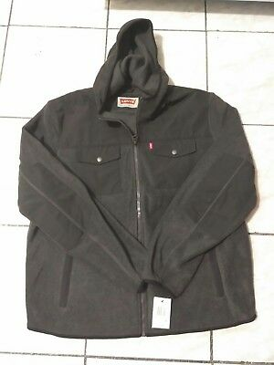 *NWT* Levi's Mens Mixed Media Fleece Jacket With Hood X-Large Zip Front Hooded