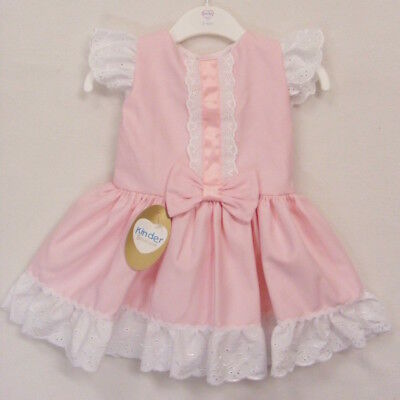 Baby & Girls Spanish Style Pink Waffle Bow Dress 12-24 Mth 2-3 3-4 Years