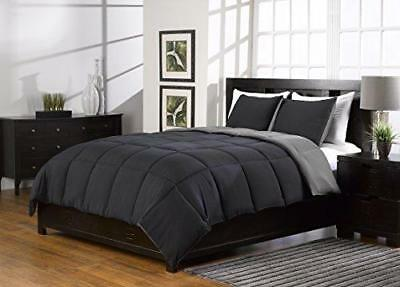 3 Pc Black and Gray, King Comforter Set, Goose Down Alternative, King Size
