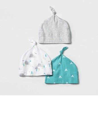 Baby 3pk Hat Set Cloud Island osfm  - Blue/white New With Tags