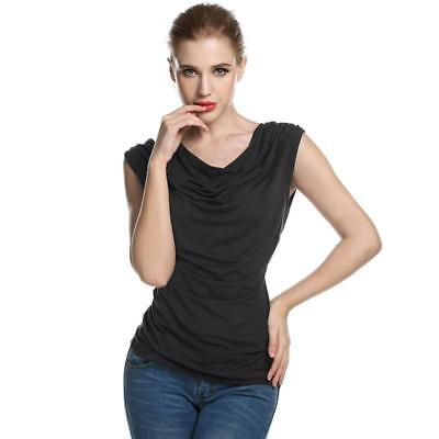 6c687e831bd0e Women Long Sleeveless V Neck Wrap Front T Shirt Slim Casual Work Top Black  White