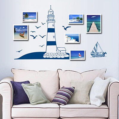 FT- Sailing Boat Lighthouse Sea Gull Small Photo Frame Mural Wall Sticker Decor