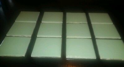 "VTG Reclaimed 10-Mint (light Green/ teal?) tile 4.25"" x 4.25""  -1950-1960s?"