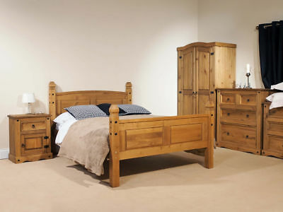 Corona Antique Waxed Pine 5ft Kingsize bed - solid pine