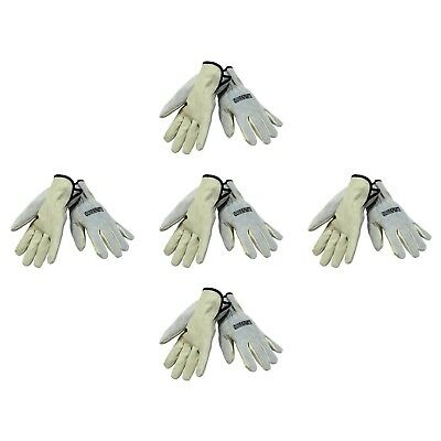 5 Pairs Of NEW Cow Grain Leather Drivers Gloves Unisex Automotive Outdoor Work