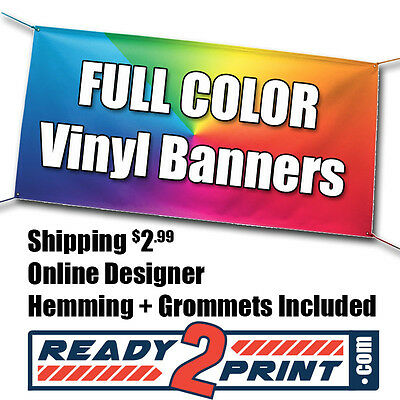 4' X 8' Full Color Custom Printed Banner, 13oz Vinyl - FREE SHIPPING