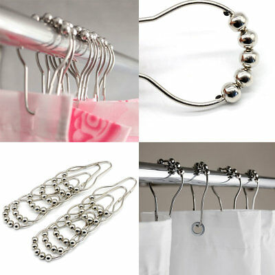 12x Pack Chrome Hook Shower Curtain Bathroom Ring Universal Voile Hanging Hook