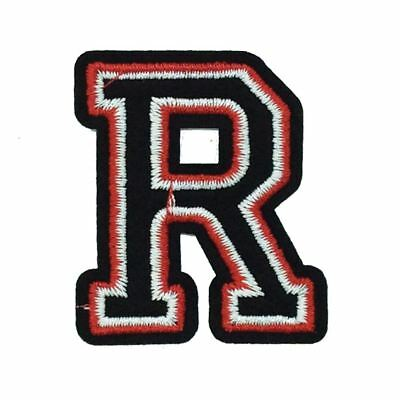 Black and Red Letter R (Iron On) Embroidery Applique Patch Sew Iron Badge