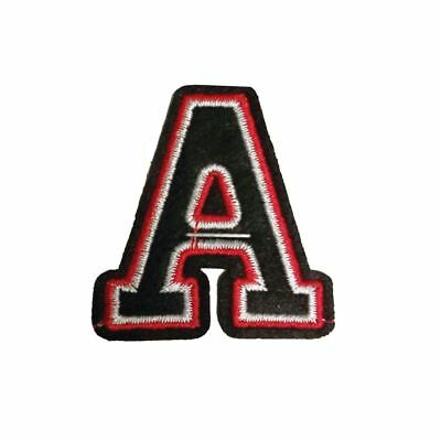 A Letter Black Red (Iron On) Embroidery Applique Patch Sew Iron Badge