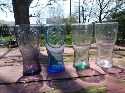 McDonalds Glass Set Logos from 1948 Green, 55 smoke, 61 Blue, 92 clear Perfect