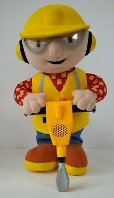 Talking 'Bob the Builder' w/ Vibrating Jackhammer & Sounds Plush Doll FREE BATT