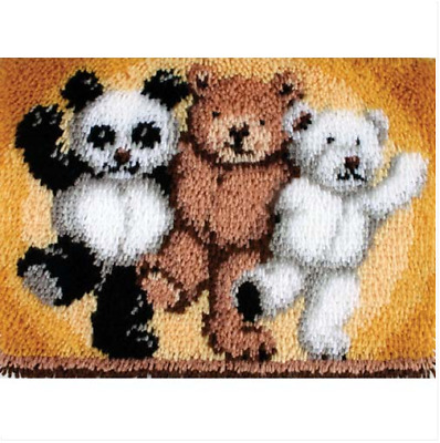 Teddy bear trio Printed Canvas Latch Hook Rug Kit - Everything included
