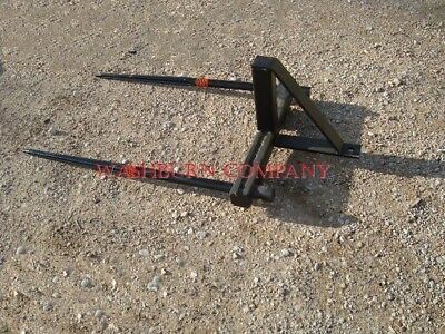 """eHay Bale  Mover Stacker Bucket Mounted w/ 2-48"""" Hay Spears"""