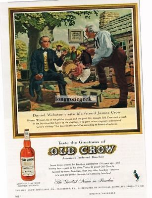 1959 OLD CROW Boubon Whiskey Daniel Webster Visits James Crow art Vtg Print Ad