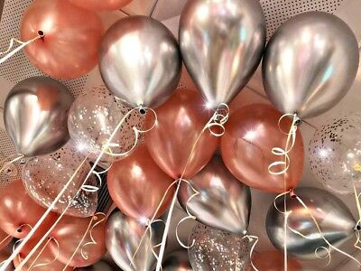 """Rose Gold Balloons Wedding Bride Engaged Chrome 11"""" Silver Hen Ceiling Bouquet"""