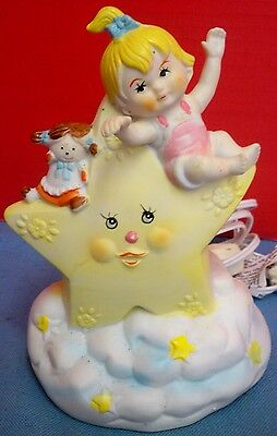 Vintage Jamestown China Tiny Tykes Collection Star Cloud Nightlight Baby Girl
