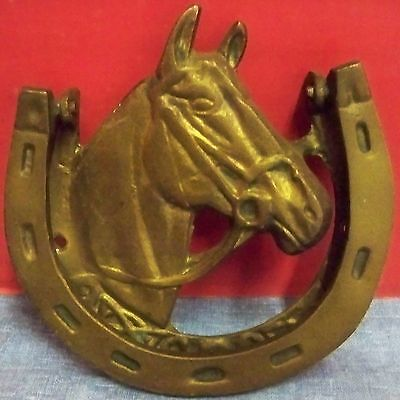 "Vintage Large Horse Head Horseshoes Door Knocker Solid Brass Appr 5"" x 5"" Taiwan"
