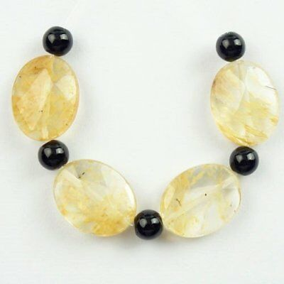 4Pcs/Set Faceted Yellow Rock Crystal Oval Pendant Bead 17x14x6mm L45222