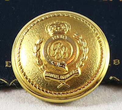 """BROOKS BROTHERS Gold Brass Metal Dome Crown & Shield Crest Button 13/16"""" CLOSURE"""