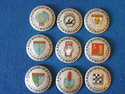 Russian Badges - Lot of 9 - Mixed Sports - Large Button Style